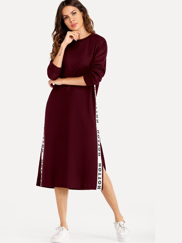 Letter Tape Side Split Sweatshirt Dress, Burgundy, Andy