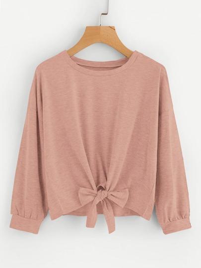 7ace5951fcb02c Drop Shoulder Knot Front Sweatshirt