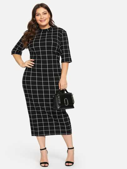 871e219b264 Plus Mock Neck Grid Print Form Fitting Dress