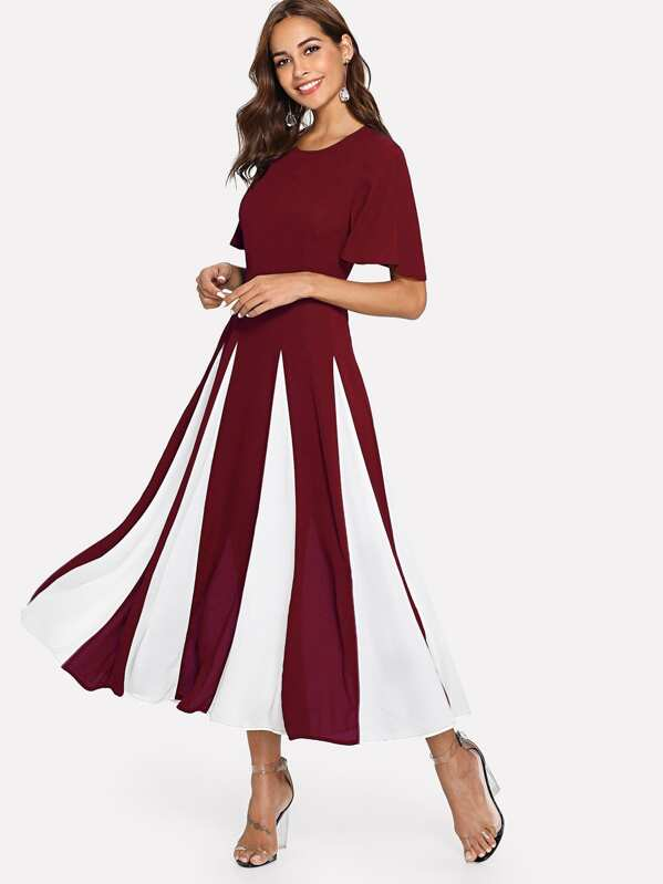 Flutter Sleeve Cut and Sew Dress, Burgundy, Giulia