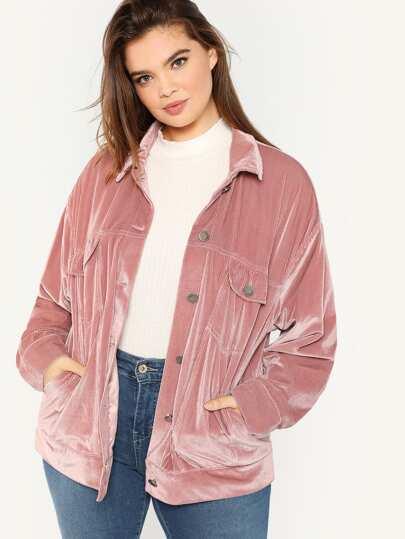 SHEIN Plus Button Up Velvet Jacket