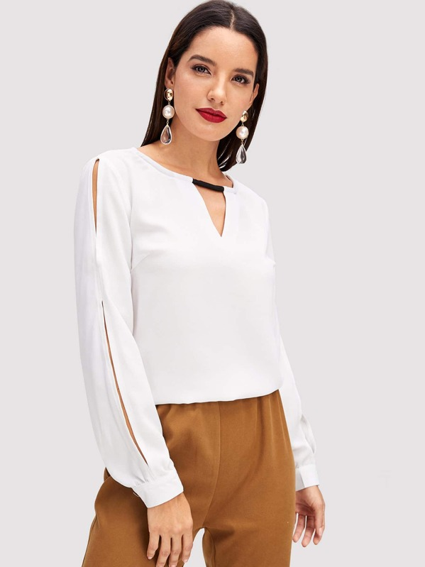 V Cutout Neck Blouse by Shein