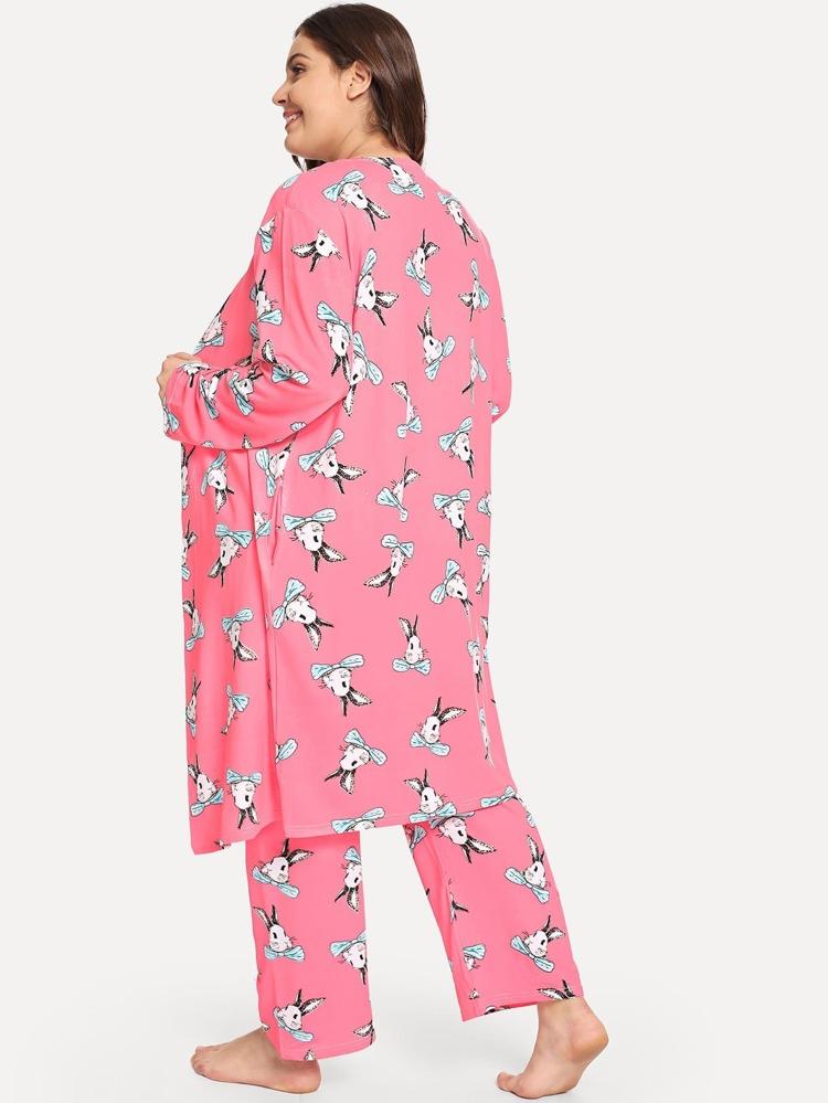c1b9c66386 Plus Rabbit Print Cami Pajama Set With Robe | SHEIN SE