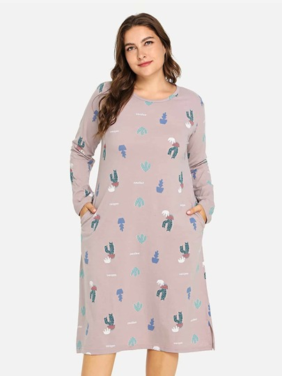 387e60bd17 Plus Cactus Print Split Side Dress