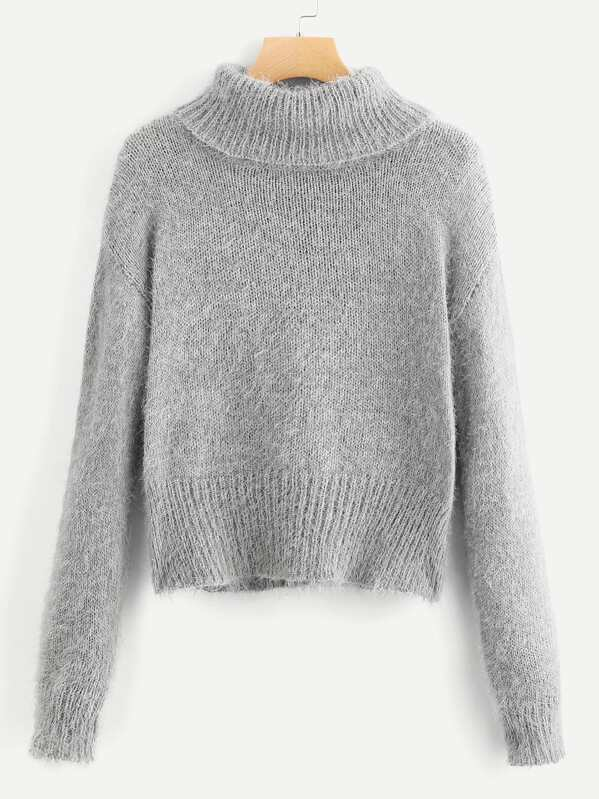 fd832ebeb104 Rolled Up Neck Solid Fuzzy Sweater -SHEIN(SHEINSIDE)