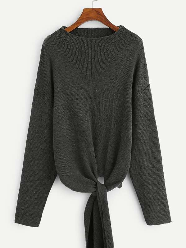 Drop Shoulder Knot Hem Sweater, Grey