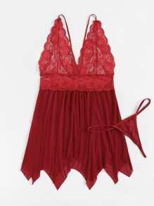 b4330e959 Plus Contrast Lace Scalloped Trim Asymmetrical Dress Set