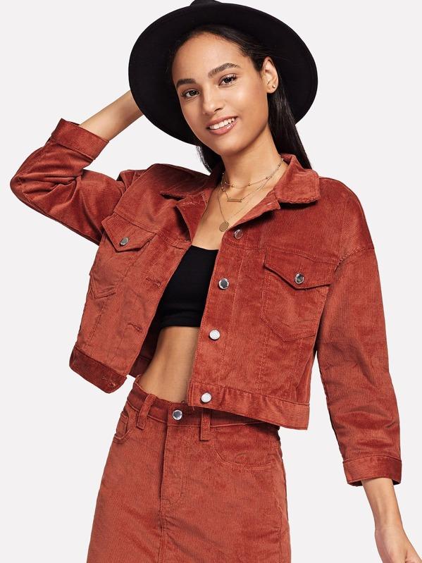 Corduroy Single Breasted Crop Jacket by Sheinside