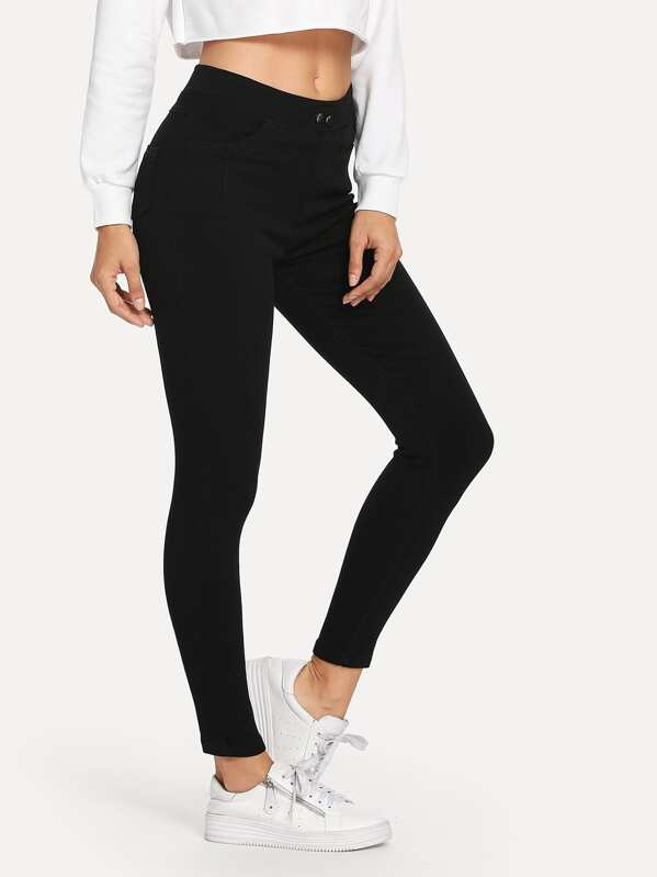 Elastic Waist Leggings, Black, Juliana