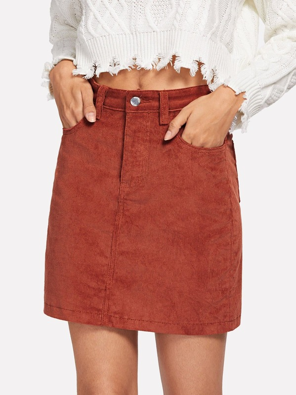 Pocket Front Corduroy Skirt by Sheinside