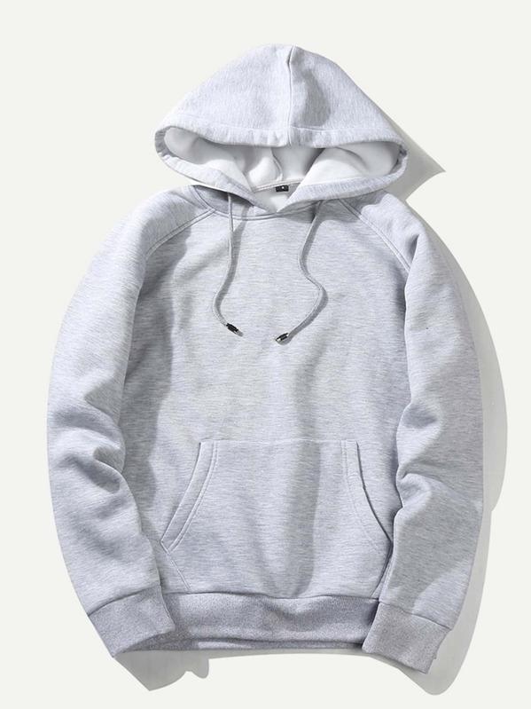 64b9fa752a Men Solid Hooded Sweatshirt -SheIn(Sheinside)