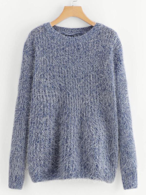 Fuzzy Slub Sweater by Sheinside