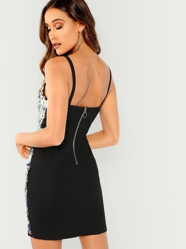 1c3e5882bd2f Sequin Contrast Cami Dress -SheIn(Sheinside)