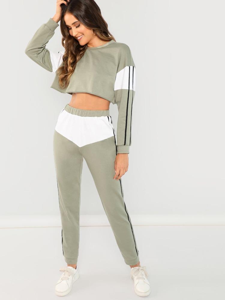d9b7223a87 Striped Crop Top & Pants Co-Ord | SHEIN