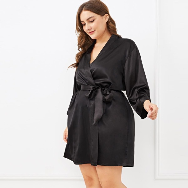 Plus Self Belted Knot Robe, Black