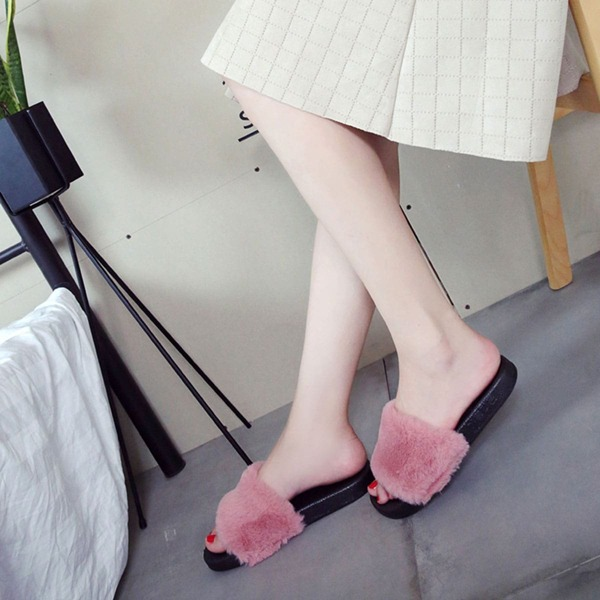 Two Tone Fluffy Slippers, Pink