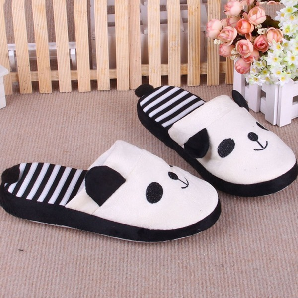 Striped Detail Bear Fluffy Slippers, Black and white