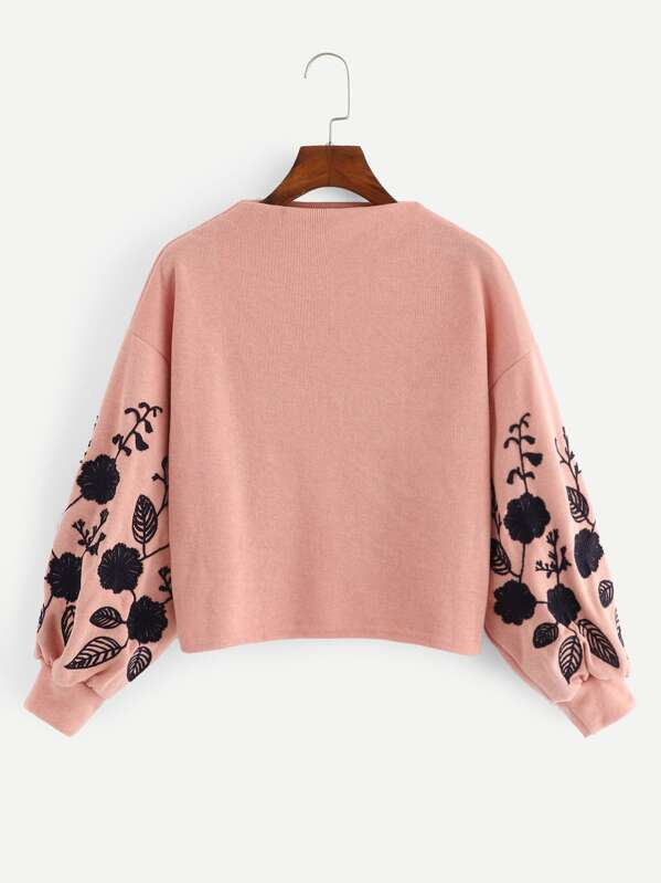 Drop Shoulder Embroidery Crop Pullover by Sheinside