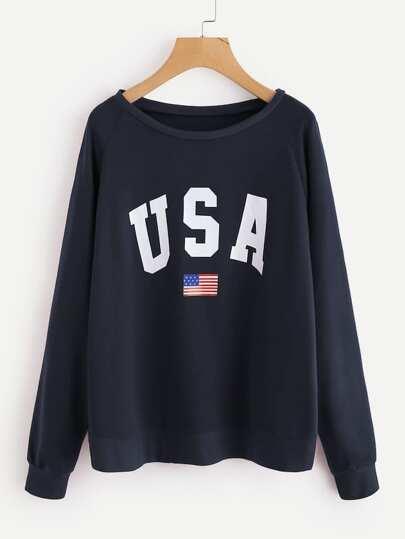 bac50ff868c9e Raglan Sleeve Letter Print Sweatshirt