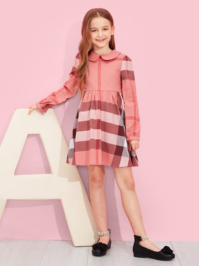 Girls Zip Back Plaid Flare Dress