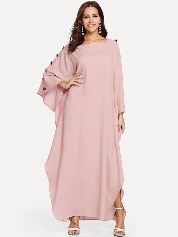 Square Neck Buttoned Batwing Hijab Long Dress, Pink, Giulia