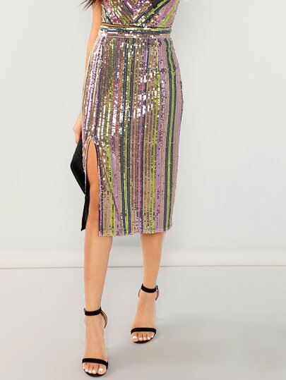 SHEIN Colorful Sequin Skirt