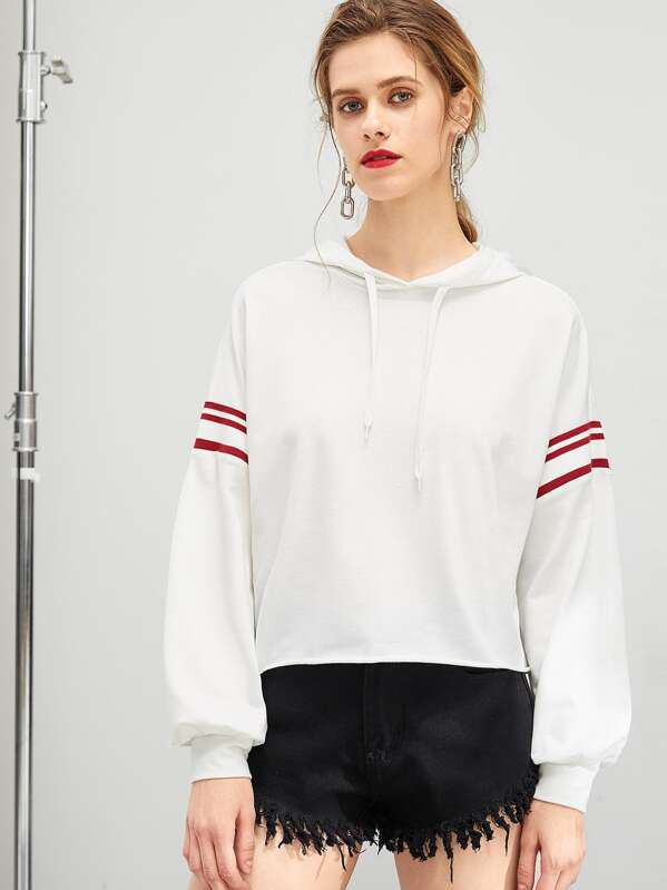 Drop Shoulder Striped Hoodie, White, Victoriab