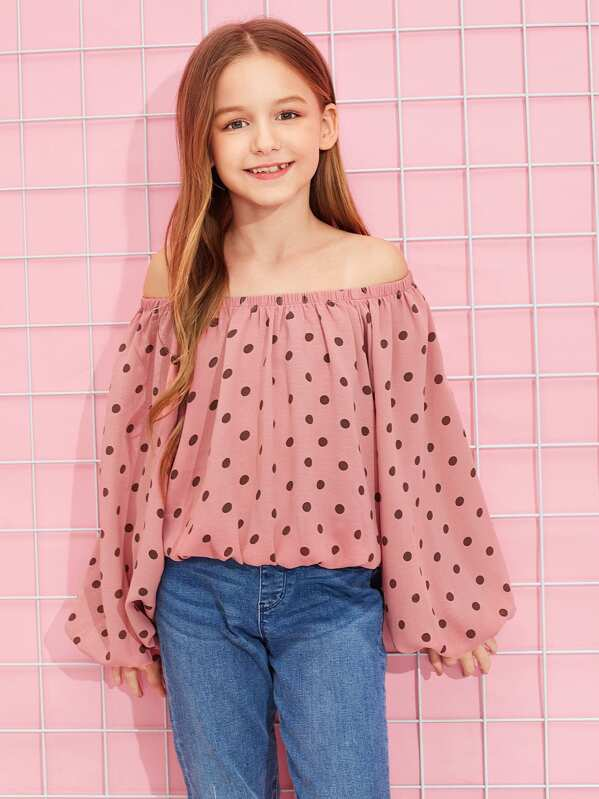 Girls Polka Dot Print Smock Top by Shein