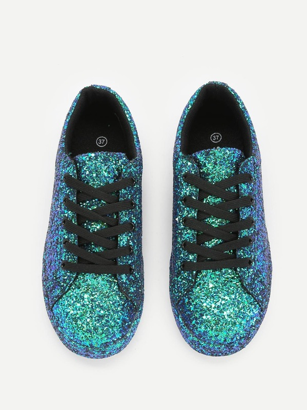 Lace Up Glitter Trainers  8659627c72