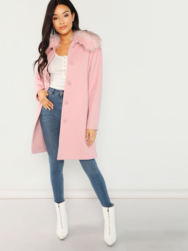 Faux Fur Collar Button Up Coat by Shein