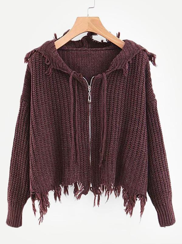 Frayed Trim Drop Shoulder Hooded Sweater by Sheinside