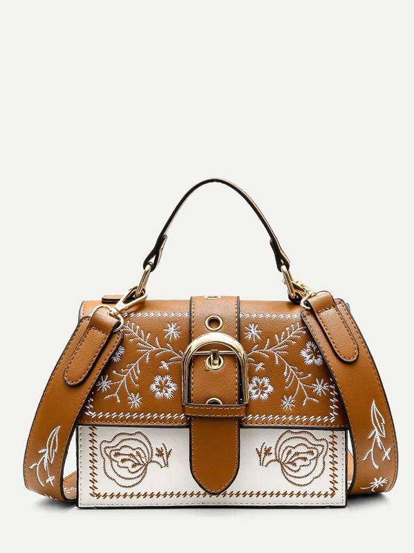Buckle Decor Floral Embroidered Bag, Brown