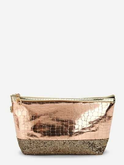 cd35131f43fa Sequin Decorated Crocodile Pattern Makeup Bag