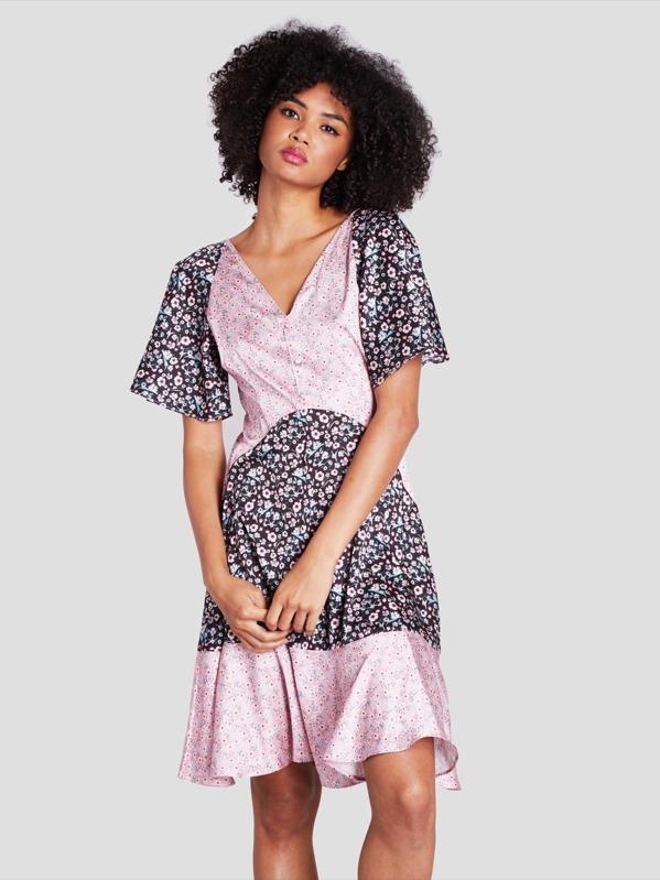 Calico Print Flounce Hem Dress by Shein