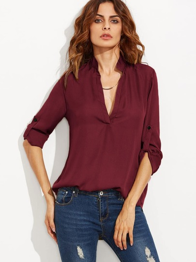 Cheap Plunging Neck Rolled-Up Sleeve Blouse for sale Australia  1332326f9