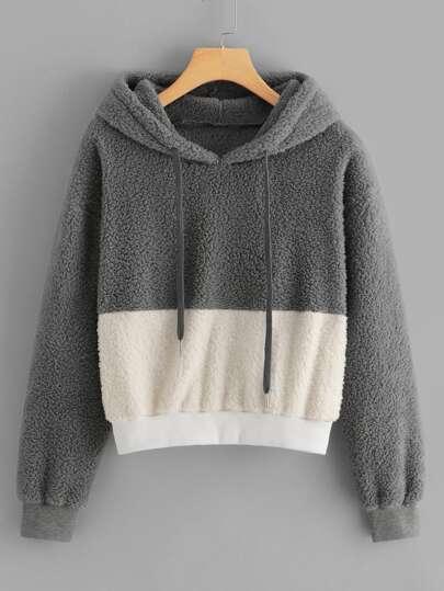 f7292514f02e Color-Block Hooded Teddy Sweatshirt