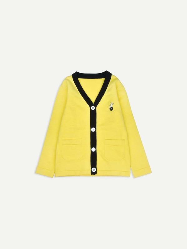 c017b4ffb5 Toddler Girls Embroidery   Pocket Detail Sweater -SHEIN(SHEINSIDE)