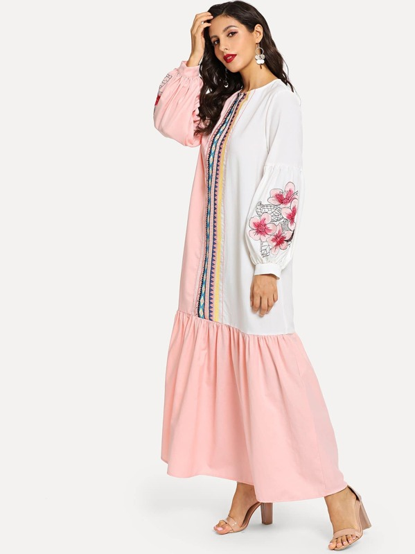 Floral and Geo Embroidered Colorblock Hijab Dress, Multicolor, Juliana