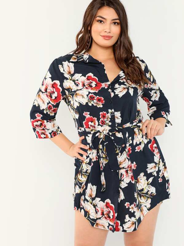 Plus Allover Floral Print Self Belted Dress
