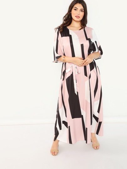 c6be7e5a466b Plus Flutter Sleeve Cut and Sew Belted Dress