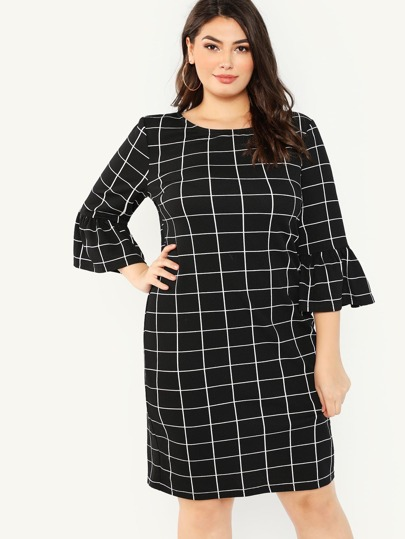 2c9134240df5f Plus Trumpet Sleeve Grid Dress