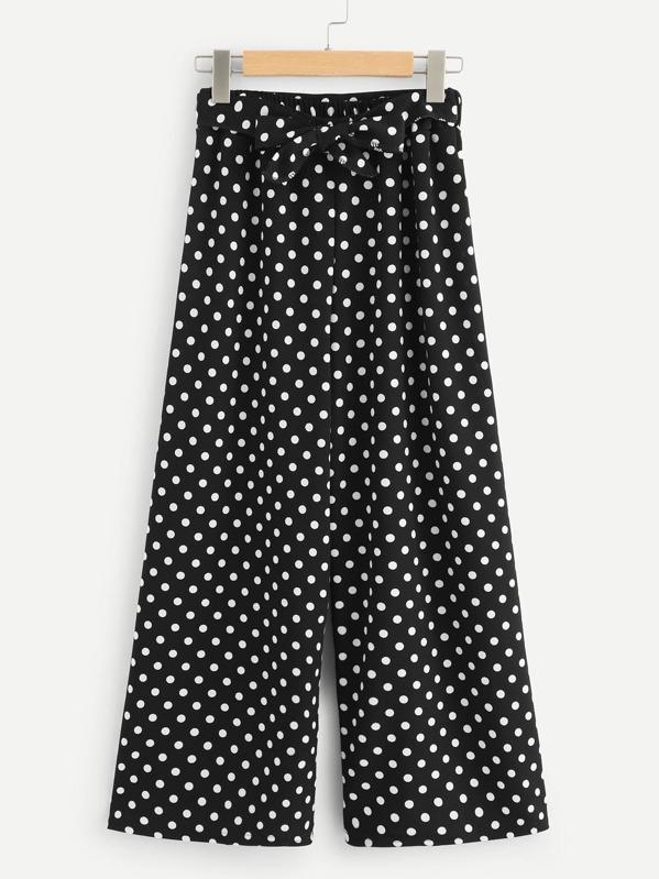 23d5a16335f Tie Waist Dot Print Wide Leg Pants -SHEIN(SHEINSIDE)