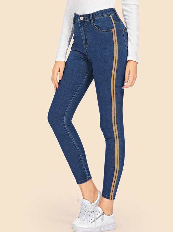 Stripe Contrast Ankle Jeans by Sheinside