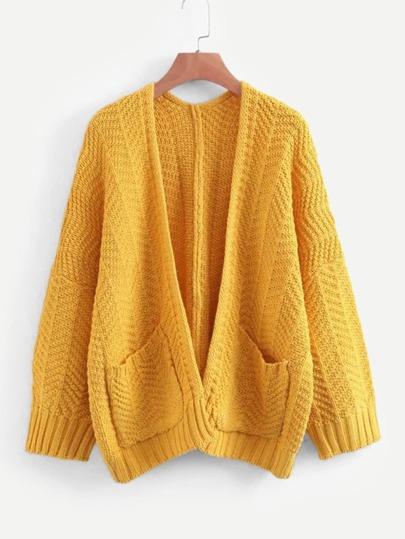 Chaqueta suéter de hombros caídos de parte delantera abierta 98273406c27c