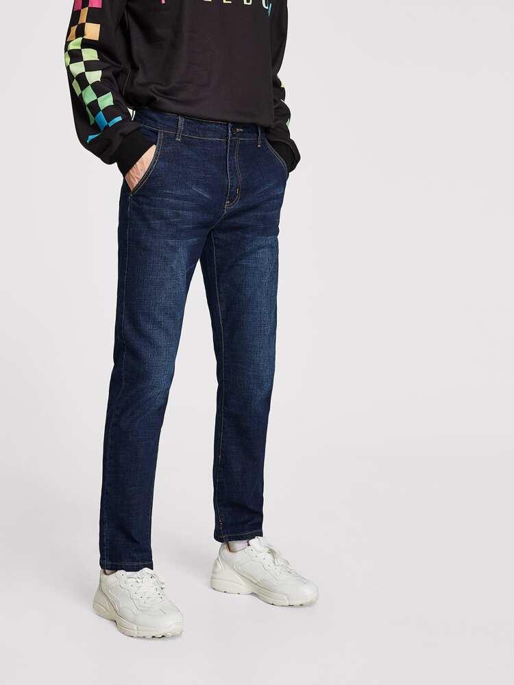 fd1626b5c بنطلون جينز رجالي صلبة اللون   شي إن