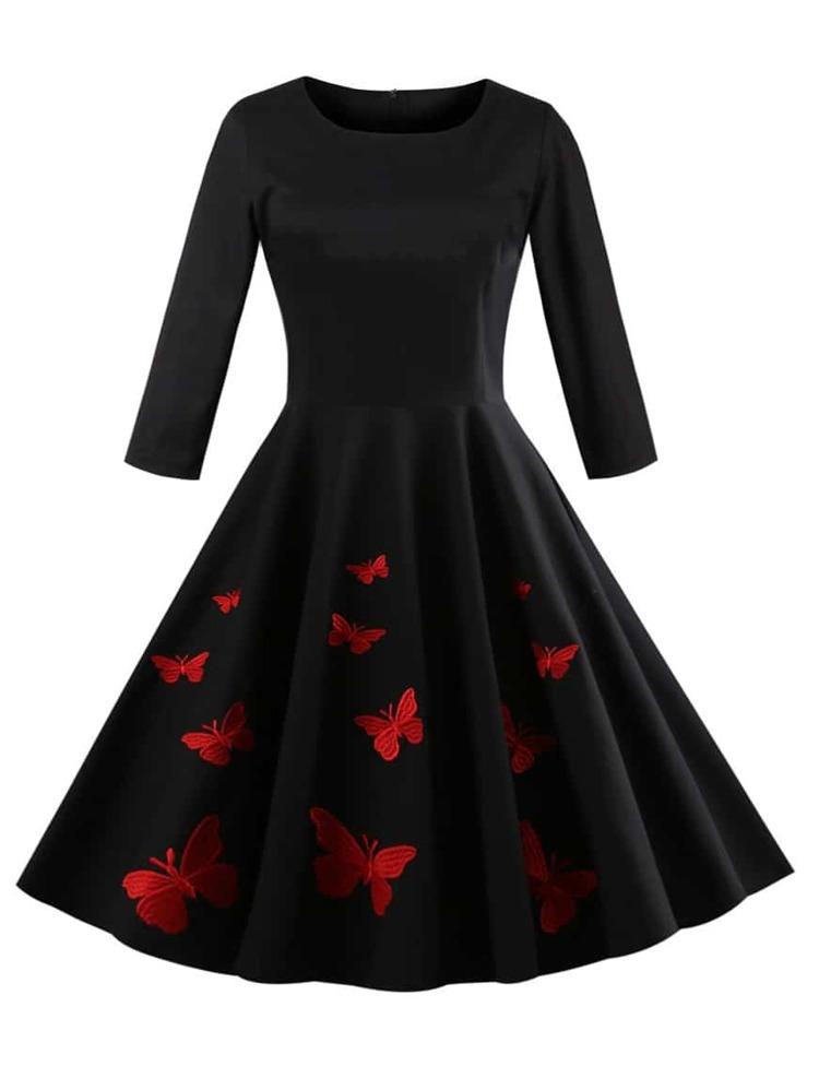 3a3b9cdba51 50s Butterfly Print Circle Dress