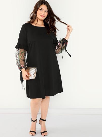 563c45b2229f9 Siyah Kontrast Mesh Çiçek Gündelik Artı Beden Elbiseler