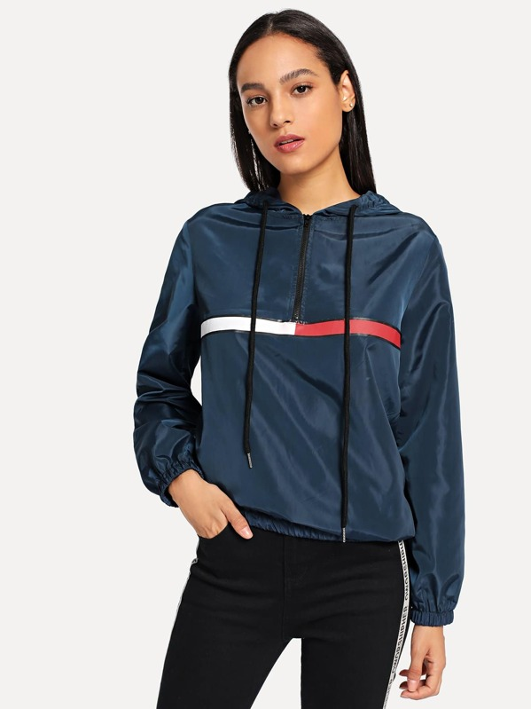 Half Placket Hooded Windbreaker Jacket by Shein