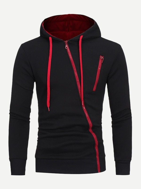 Men Zip Up Hooded Sweatshirt by Sheinside