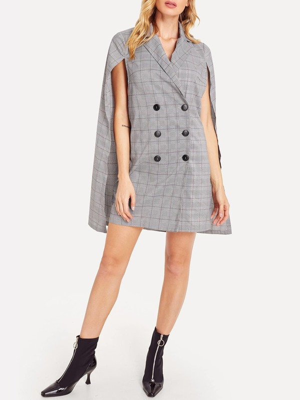 Double Breasted Plaid Cape Blazer Dress, Grey, Masha